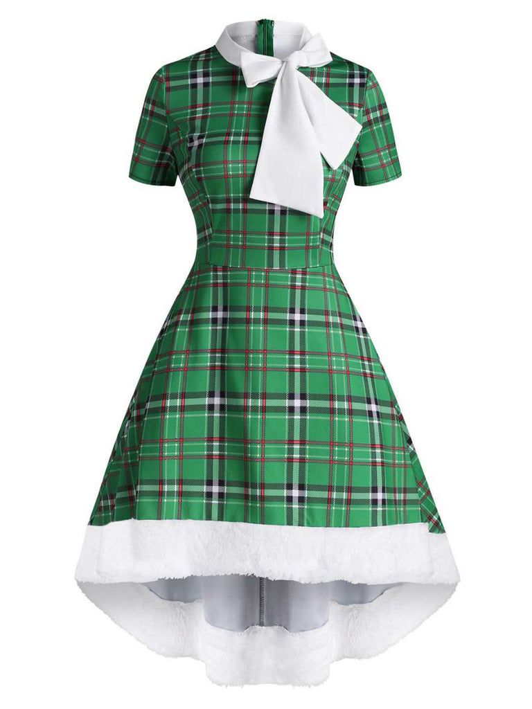 GRÜN 1950ER PLAID BOW HILO KLEID