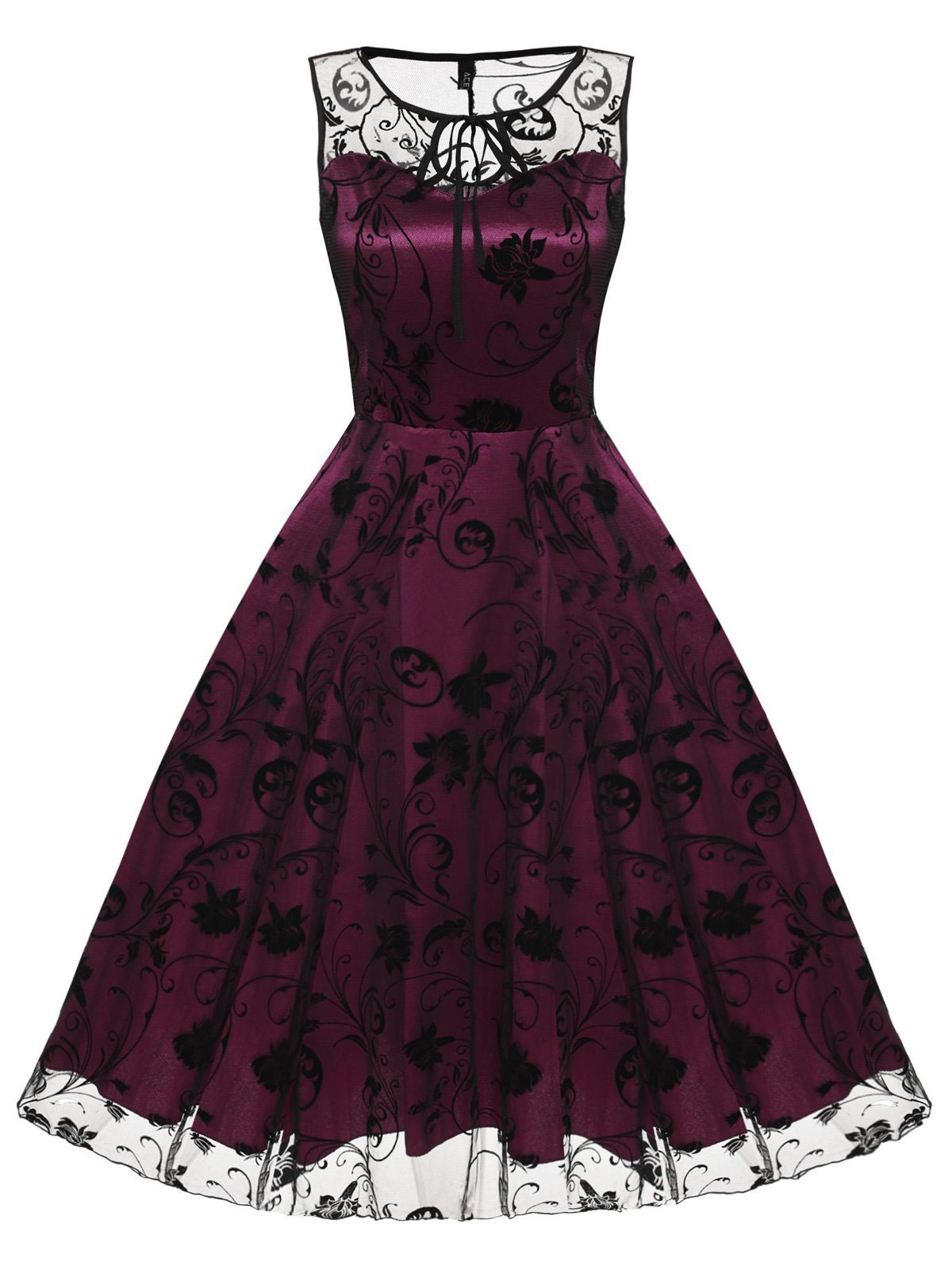 ROSE ROT 1950ER RETRO MASCHE LANG A-LINIE PARTY KLEID – retro stage ...