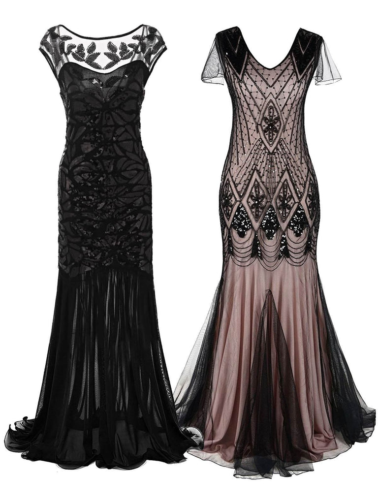2PCS Top Seller 1920er Maxi Flapper Abendkleider