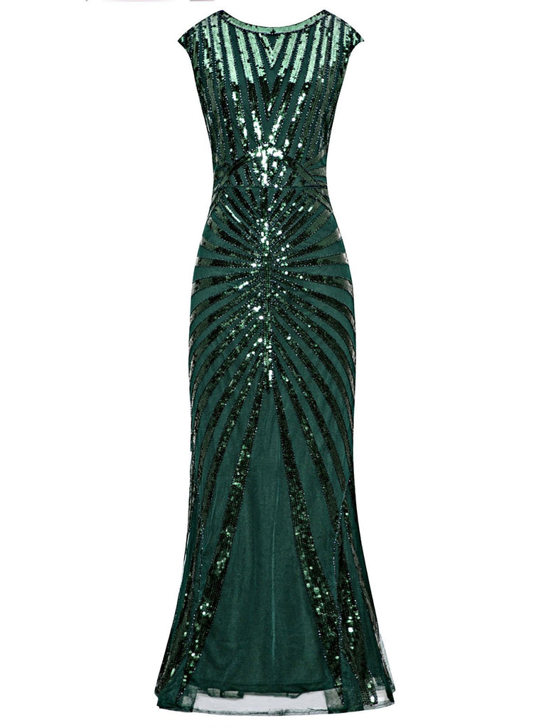 1920ER PAILLETTEN ART DECO MAXIKLEID