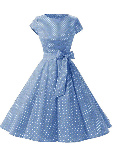 BLAU 1950ER POLKA DOT SWING KLEID