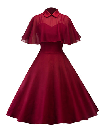 1950ER CAPE PATCHWORK SWING KLEID