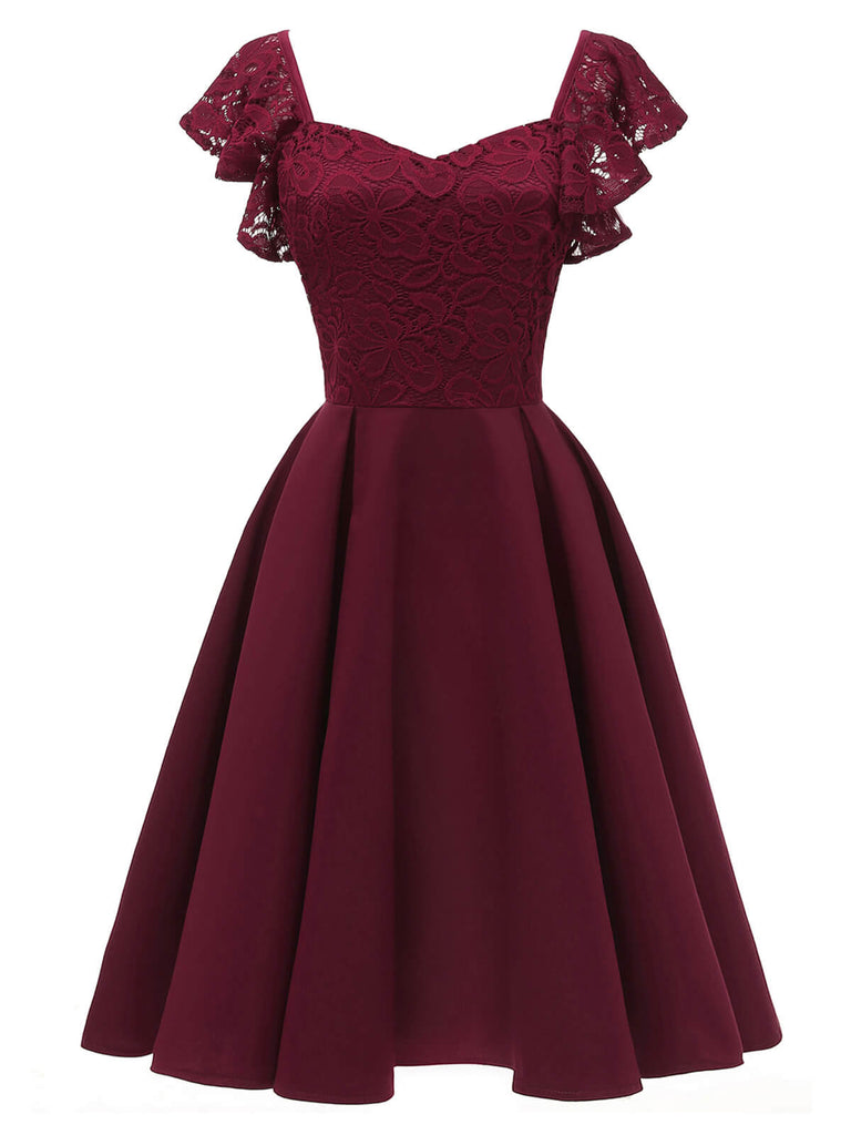 14ER WEINROT SOLIDE SATIN SWING KLEID