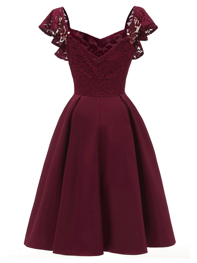 1950ER WEINROT SOLIDE SATIN SWING KLEID