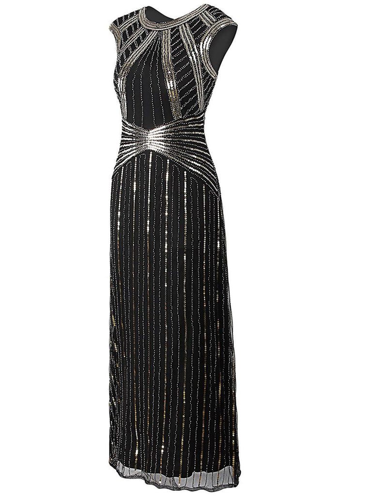 SCHWARZ 1920ER PARTY PAILLETTEN VINTAGE KLEID