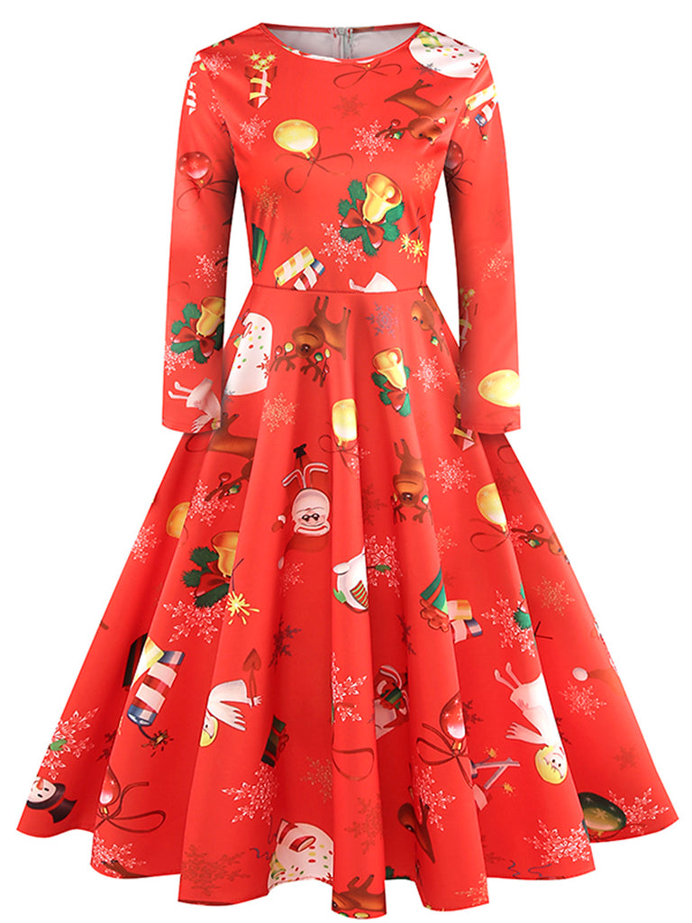 1950ER WEIHNACHTEN ROT LANGARM PARTY SWING KLEID