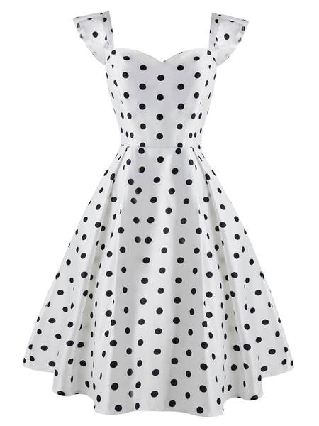 WEISS 1950ER DOT SWING HOHE TAILLE VINTAGE KLEID