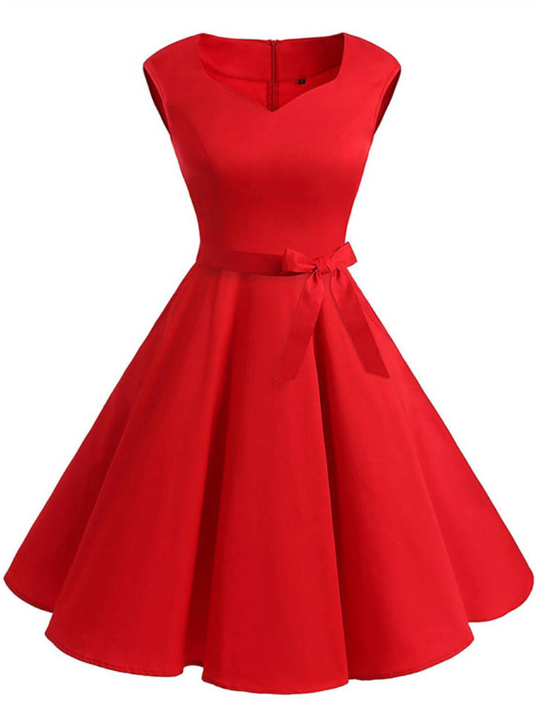 ROT 1950ER BOW VINTAGE SWING PARTY KLEID