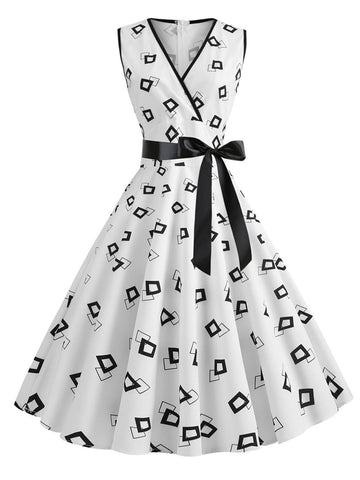 WEISS 1950ER BOW HOHE TAILLE SWING KLEID