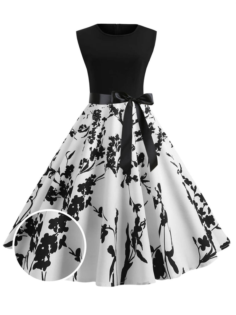 1950ER PATCHWORK BOW ÄRMELLOS SWING KLEID