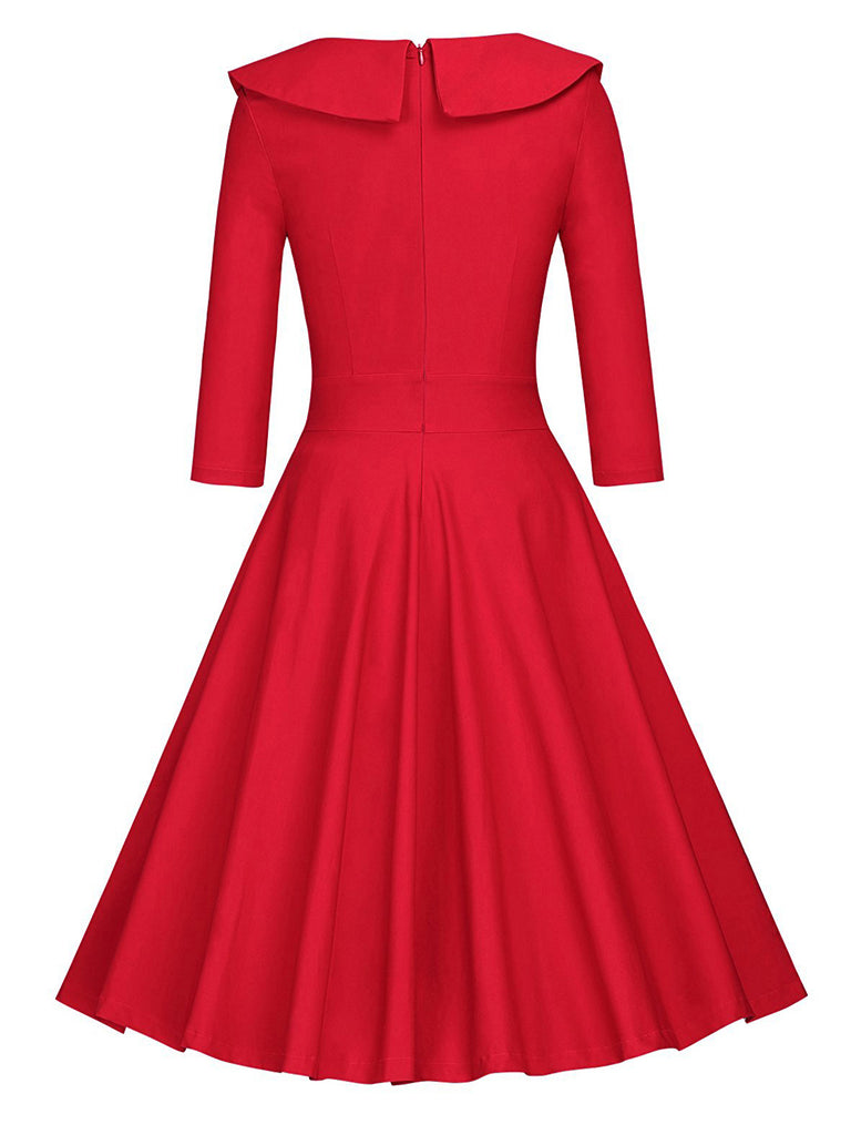 1950ER DOT LANGE ÄRMEL SWING KLEID