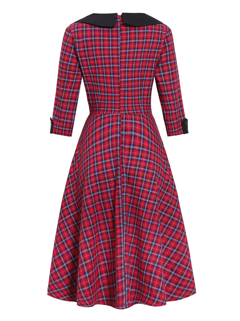 1950ER VINTAGE PLAID HALBE ÄRMEL SWING KLEID