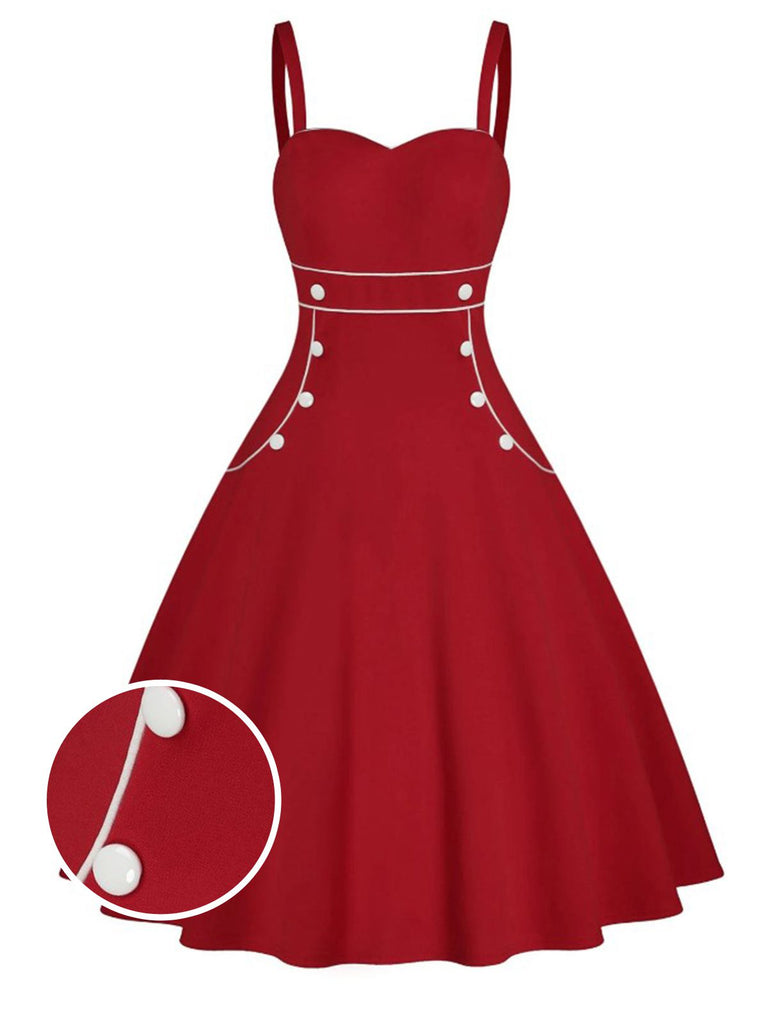 ROT 1950ER SPAGHETTI HOHE TAILLE SWING KLED