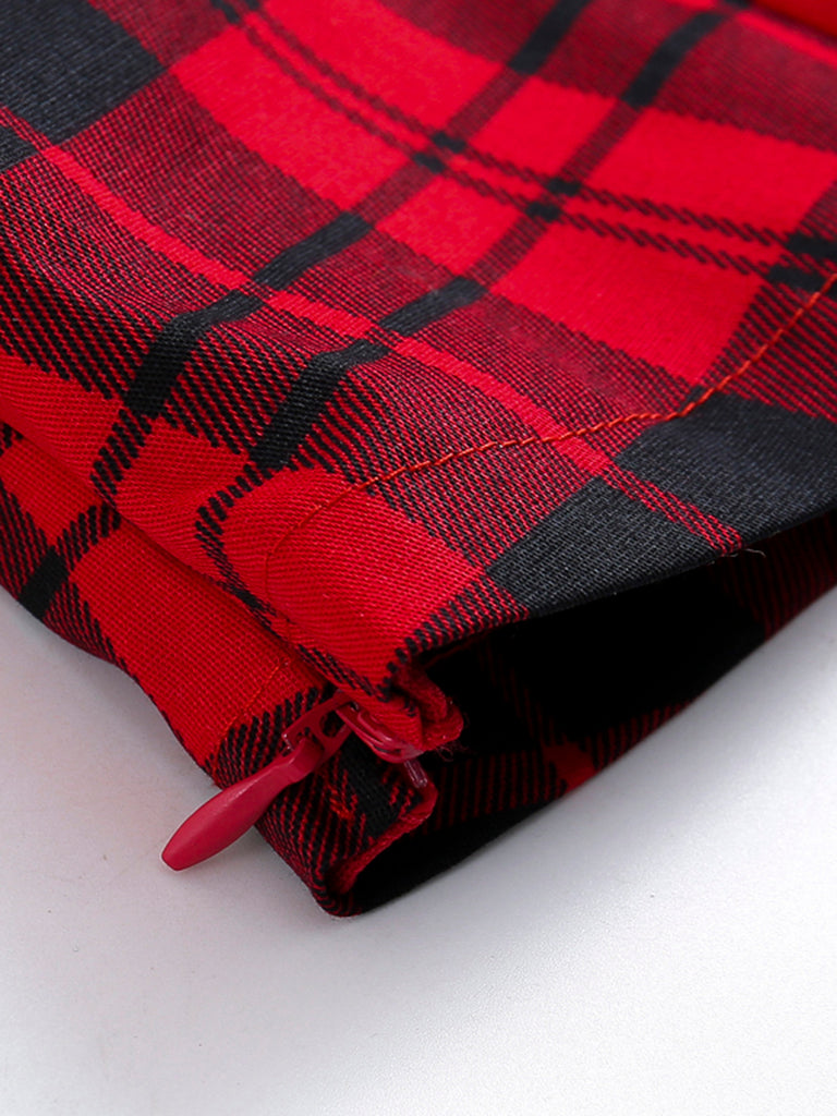 ROT 1950ER VINTAGE PLAID TOP