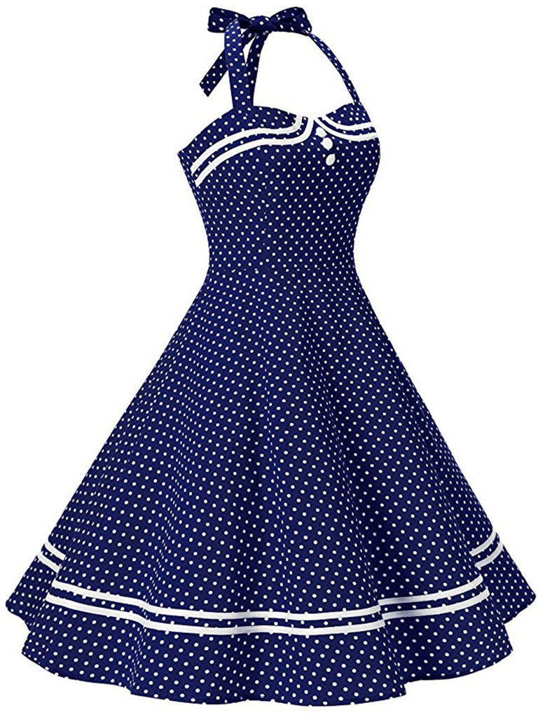 1950ER NECKHOLDER DOT ROCKABILLY SWING KLEID