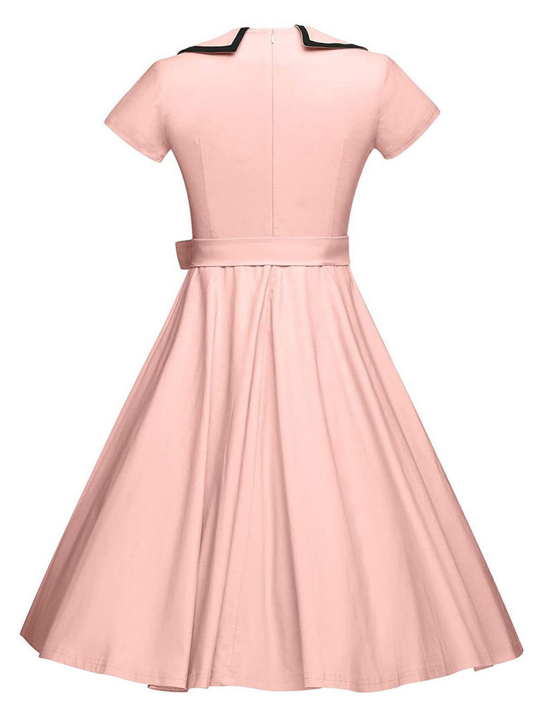 GROSS 1950ER ROSA BOW KURZARM SWING KLEID