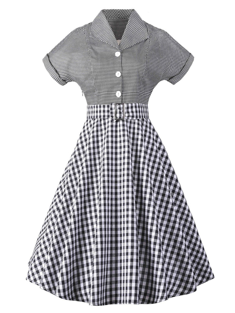 1950ER PLAID KURZARM SWING BLUSE KLEID