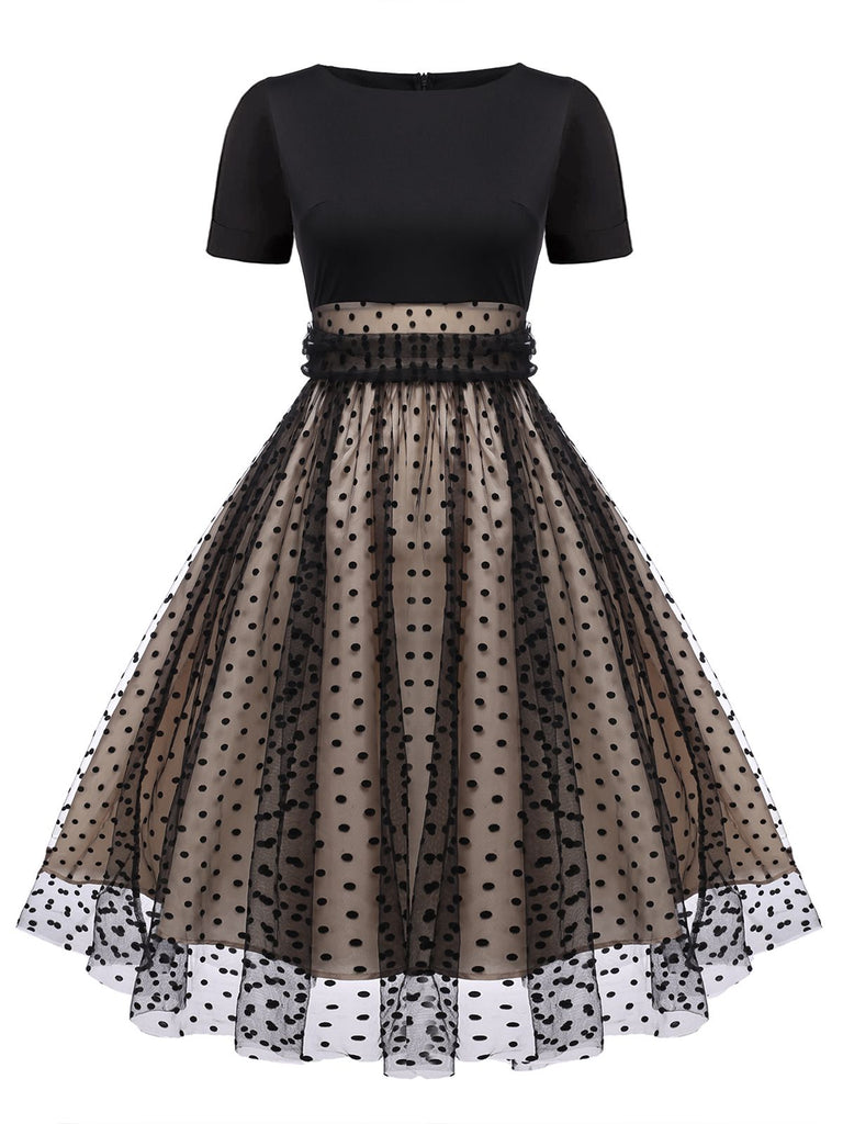 1950ER PATCHWORK KURZARM DOT SWING KLEID