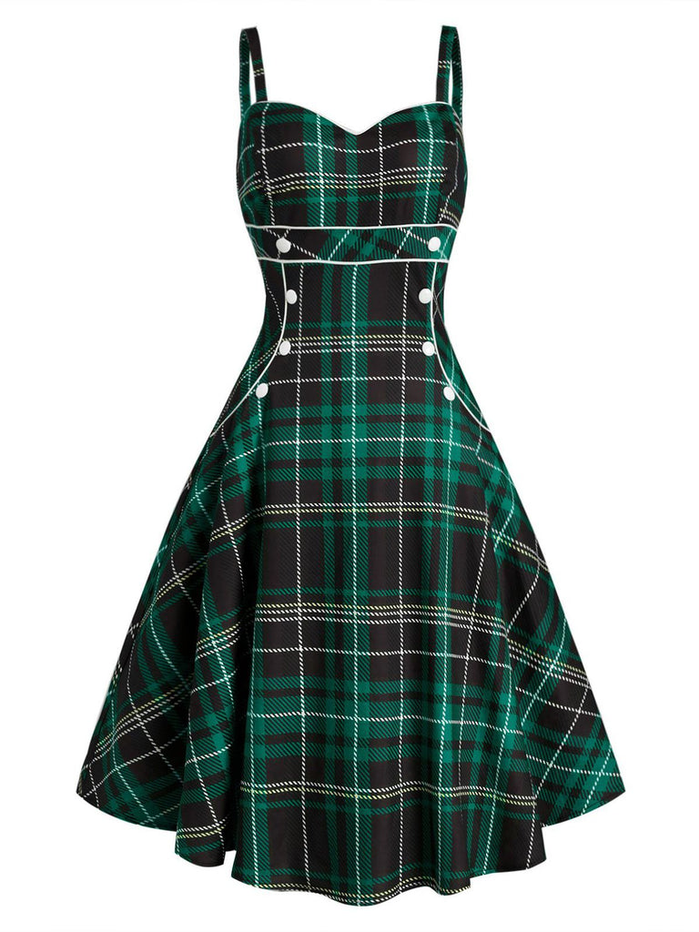 1950ER PLAID SPAGHETTI SWING VINTAGE KLEID