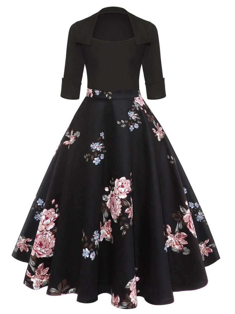 1950ER BLUMENDRUCK PATCHWORK SWING KLEID