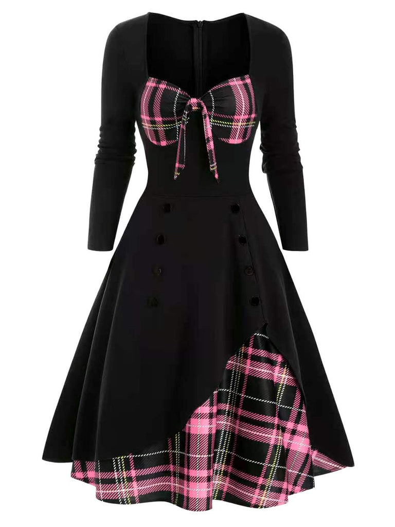 1950ER VINTAGE PATCHWORK PLAID SWING KLEID