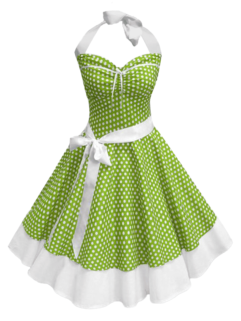 GRÜN 1950ER DOT NECKHOLDER BOW ROCKABILLY KLEID