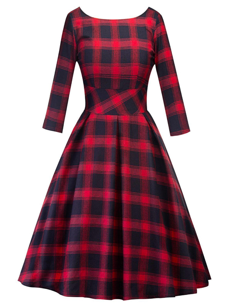 ROT 1950ER PLAID SWING KLEID
