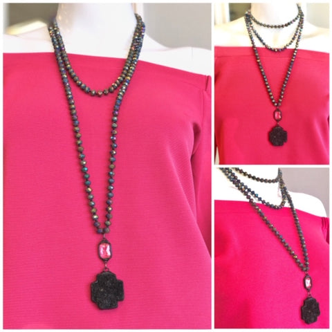 895cb7c6e54 Guilt multi color beaded necklace with black stone cross pendant