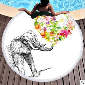 Floral Elephant Beach Towel