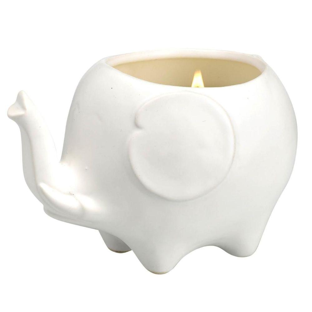 Elephant Candle - Matte White