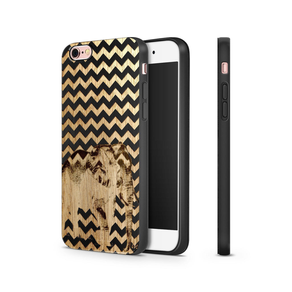 Chevron Elephant Wooden Phone Case