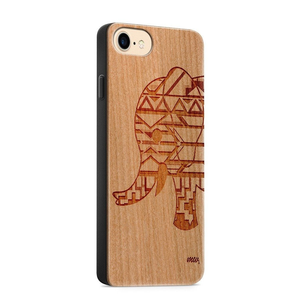 Aztec Elephant Wooden Phone Case
