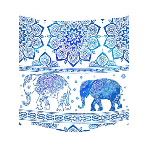 Blue Indian Elephant Mandala Tapestry