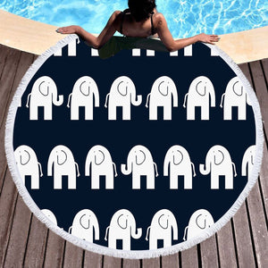 Black and White Elephant Round Beach Towel