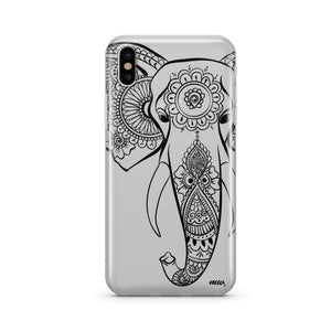 Black Tribal Elephant - Clear Phone Case