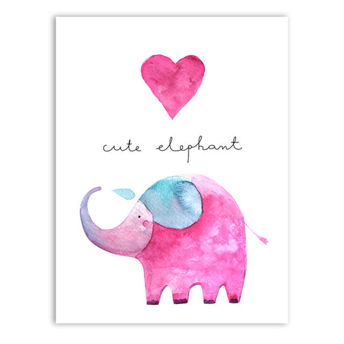 Cute Elephant Baby Room Canvas Print