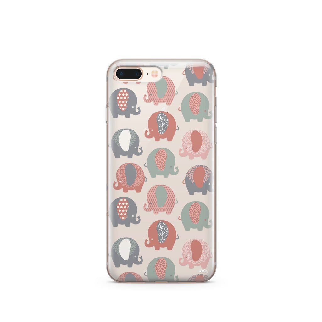 Cute Elephants Clear Phone Case