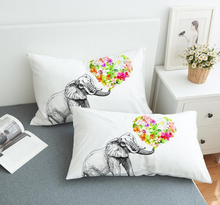 Floral Elephant Pillow Case
