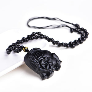 Obsidian Mom & Baby Necklace