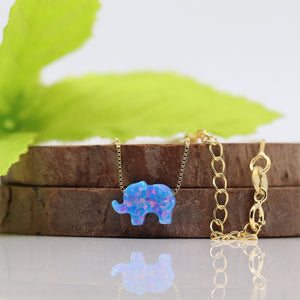 Opal Elephant Necklace