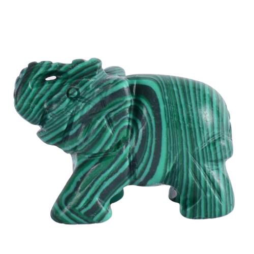 Malachite Elephant Figurine