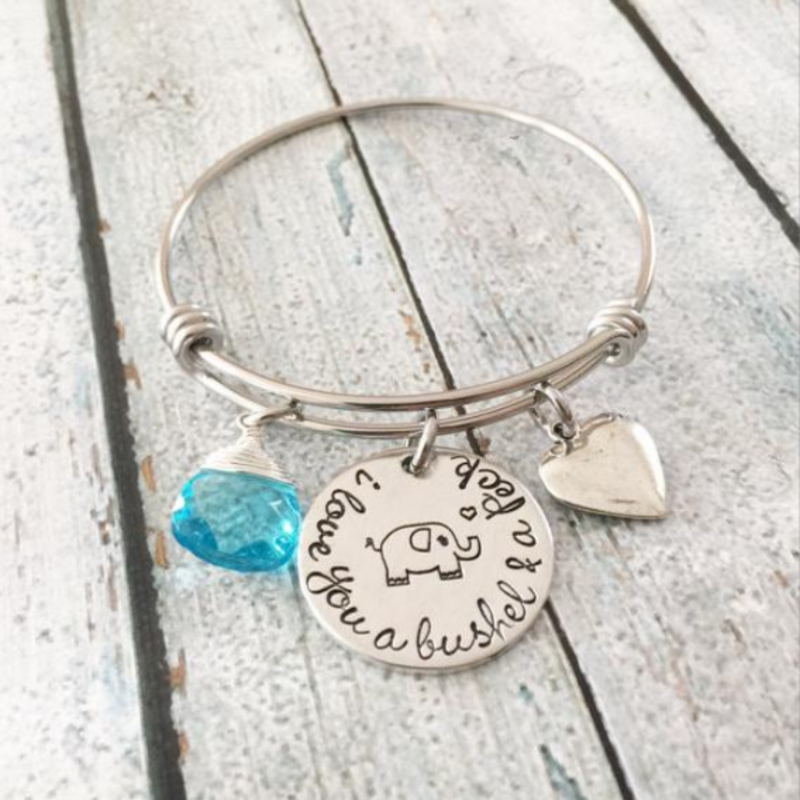 I love you a bushel and a peck bracelet - Elephant