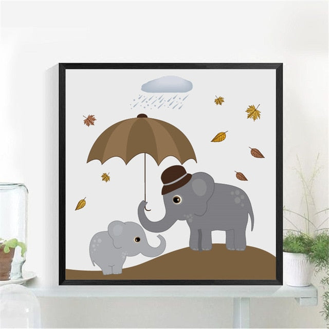 Nordic Elephants Print Wall Art Decor