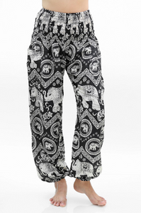 Black and White Elephant Harem Pants