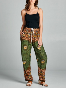 Bold Green Boho Drawstring Elephant Pants