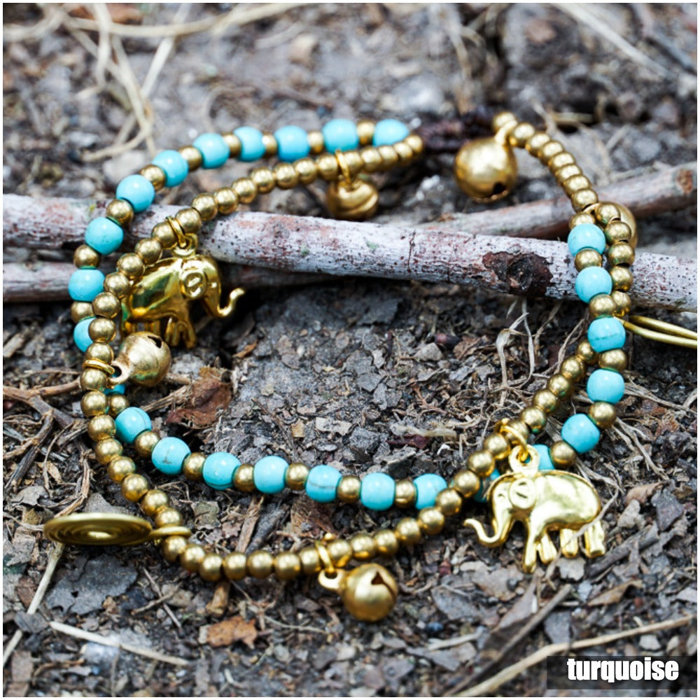 Teal and Gold Elephant Bracelet
