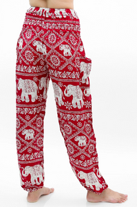 Red and White Elephant Harem Pants