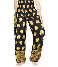 Black and Gold Elephant Harem Pants