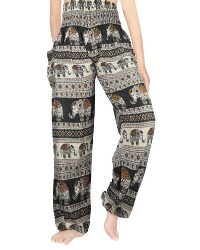 Cream and Gold Elephant Harem Pants