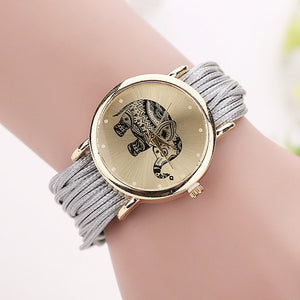 Leather Strand Elephant Watch [10 Colors]